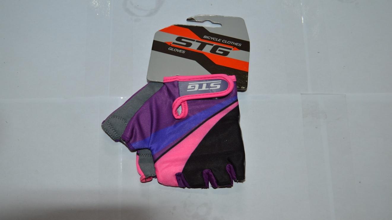 Перчатки велосипедные STG 87909 фиолет